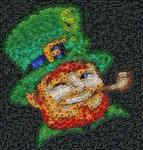 Leprechaun made of bottle caps